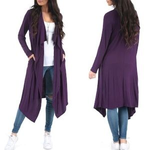 NWOT Purple Open Front Draped Cardigan